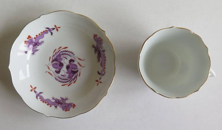 German Meissen Porcelain Demitasse Cup and Saucer Chinese Dragon Pattern, circa 1928 For Sale