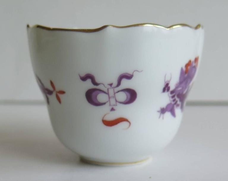 20th Century Meissen Porcelain Demitasse Cup and Saucer Chinese Dragon Pattern, circa 1928 For Sale