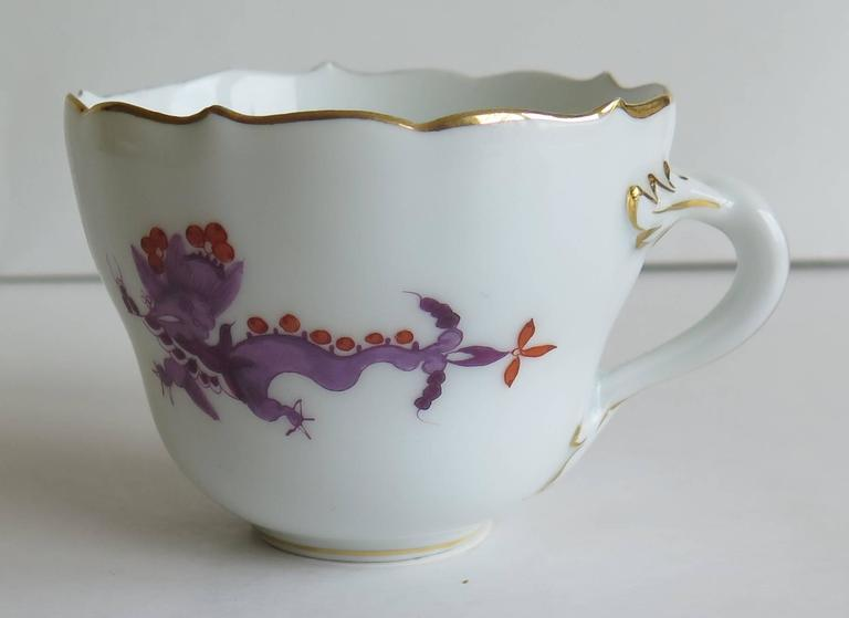 Meissen Porcelain Demitasse Cup and Saucer Chinese Dragon Pattern, circa 1928 For Sale 1