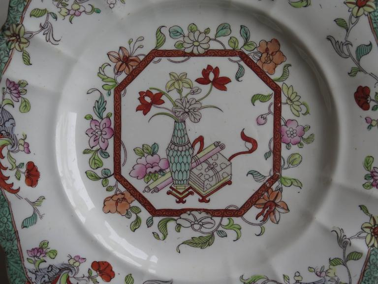 Hand-Painted Mason's Ironstone Sandwich Plate or Dish box & vase Chinoiserie Ptn, Circa 1840 For Sale