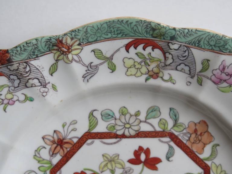 19th Century Mason's Ironstone Sandwich Plate or Dish box & vase Chinoiserie Ptn, Circa 1840 For Sale
