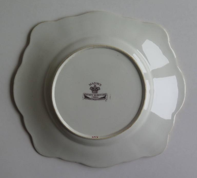 Mason's Ironstone Sandwich Plate or Dish box & vase Chinoiserie Ptn, Circa 1840 For Sale 3