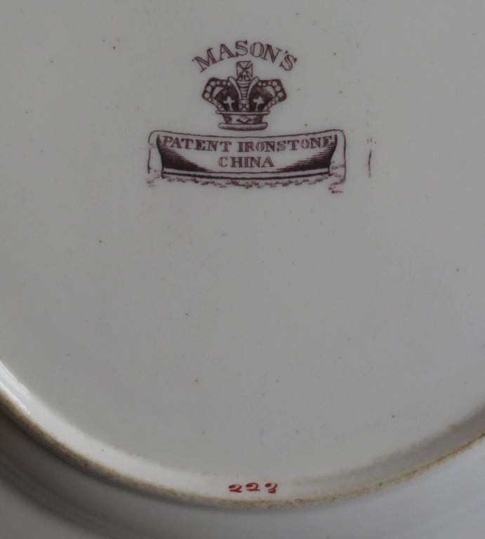 Mason's Ironstone Sandwich Plate or Dish box & vase Chinoiserie Ptn, Circa 1840 For Sale 4