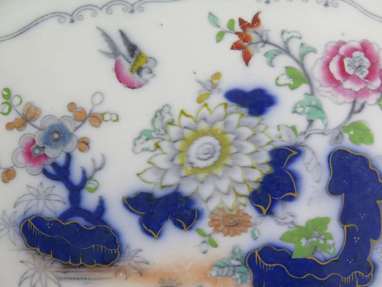 Hand-Painted Mason's (F Morley & Co) Ironstone Platter hand painted Chinoiserie, Ca 1850  For Sale