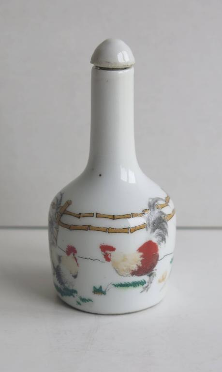 Qing Chinese Porcelain Snuff Bottle Two Enamelled Roosters signed base, Ca 1940 For Sale