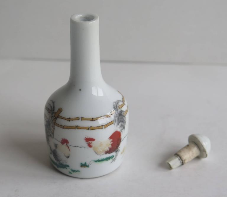 20th Century Chinese Porcelain Snuff Bottle Two Enamelled Roosters signed base, Ca 1940 For Sale