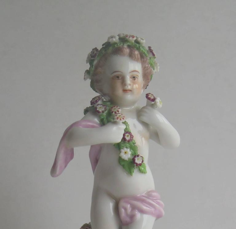 Renaissance 19th Century Samson Porcelain Cherub Putti Figurine, Gold Anchor Mark For Sale