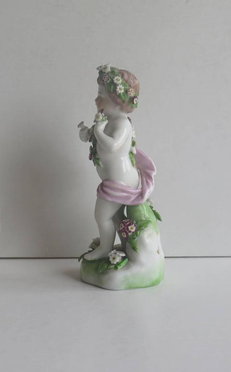 Hand-Painted 19th Century Samson Porcelain Cherub Putti Figurine, Gold Anchor Mark For Sale