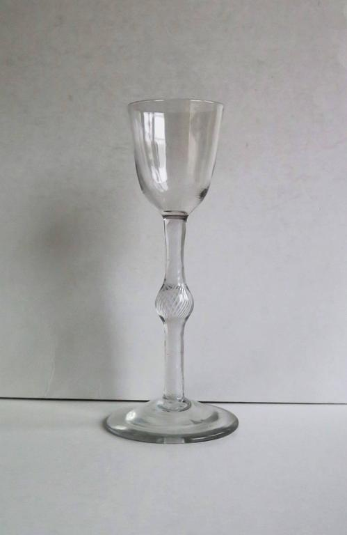 Georgian Cordial Glass Handblown English Cotton Twist Knopped Stem, Ca. 1765 In Good Condition For Sale In Lincoln, Lincolnshire