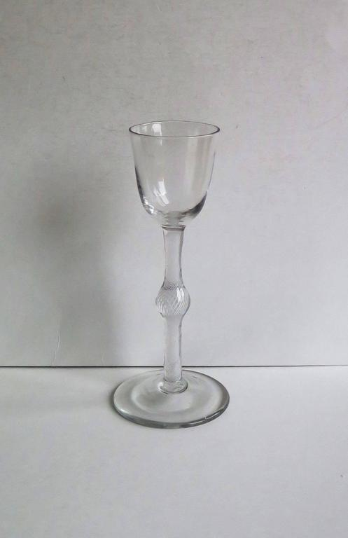 18th Century Georgian Cordial Glass Handblown English Cotton Twist Knopped Stem, Ca. 1765 For Sale
