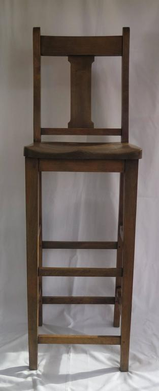 Victorian Clerk's High Chair or Kitchen Chair in Beach and Elm, English Ca. 1880 In Good Condition For Sale In Lincoln, Lincolnshire