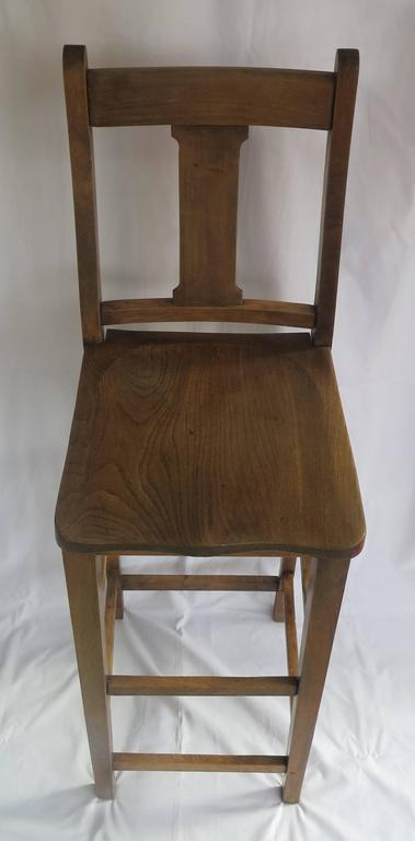 19th Century Victorian Clerk's High Chair or Kitchen Chair in Beach and Elm, English Ca. 1880 For Sale