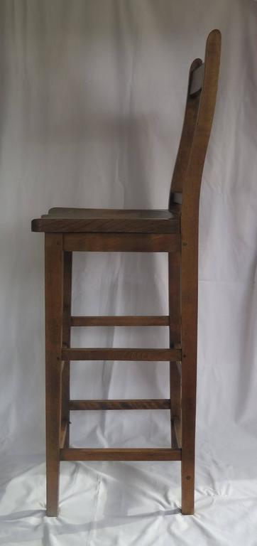 Beech Victorian Clerk's High Chair or Kitchen Chair in Beach and Elm, English Ca. 1880 For Sale