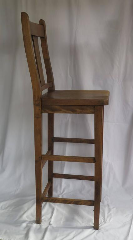 Hand-Crafted Victorian Clerk's High Chair or Kitchen Chair in Beach and Elm, English Ca. 1880 For Sale