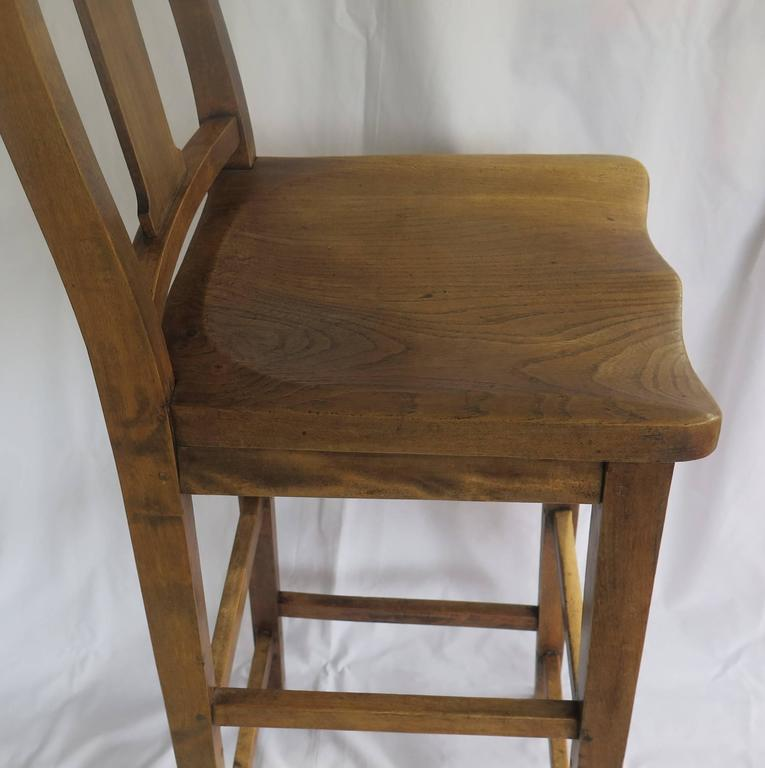 Victorian Clerk's High Chair or Kitchen Chair in Beach and Elm, English Ca. 1880 For Sale 3