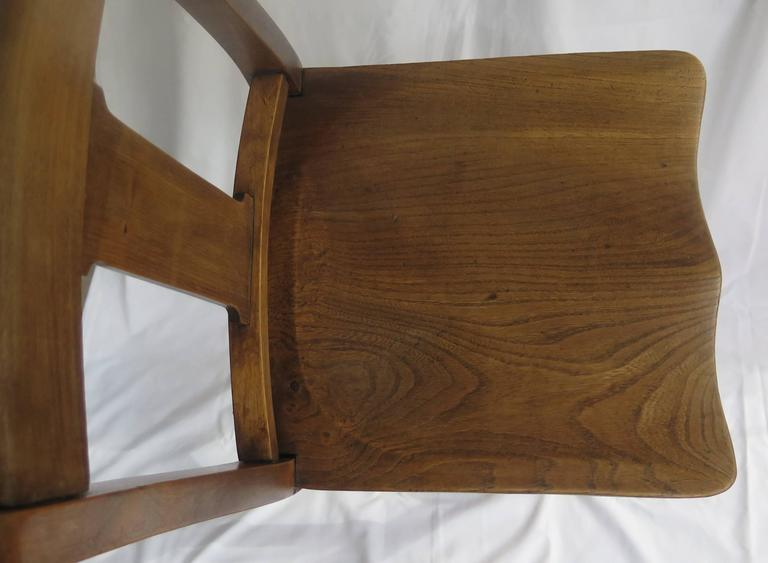 Victorian Clerk's High Chair or Kitchen Chair in Beach and Elm, English Ca. 1880 For Sale 4