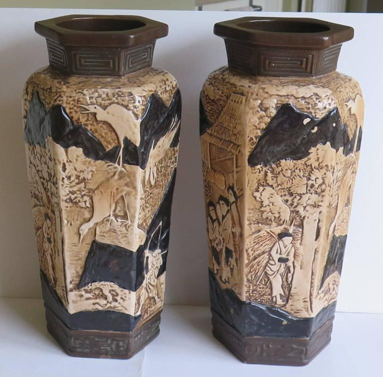 Pair Of Large Pottery Vases By Bretby With Oriental Scenes English
