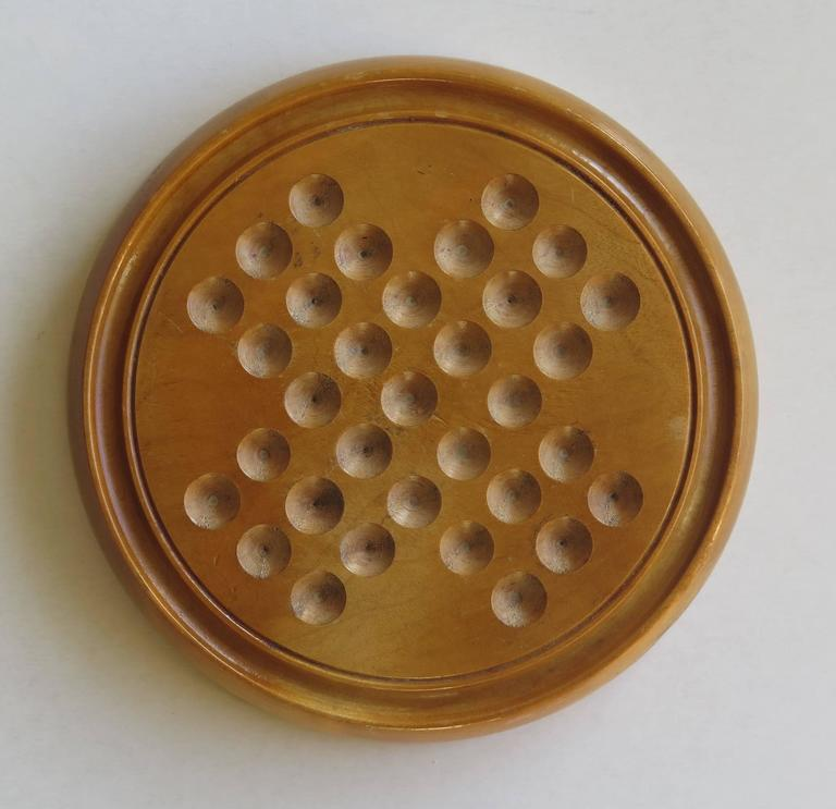 Late Victorian 19th Century Marble Solitaire Board Game with 32 Handmade Marbles, Circa 1880 For Sale