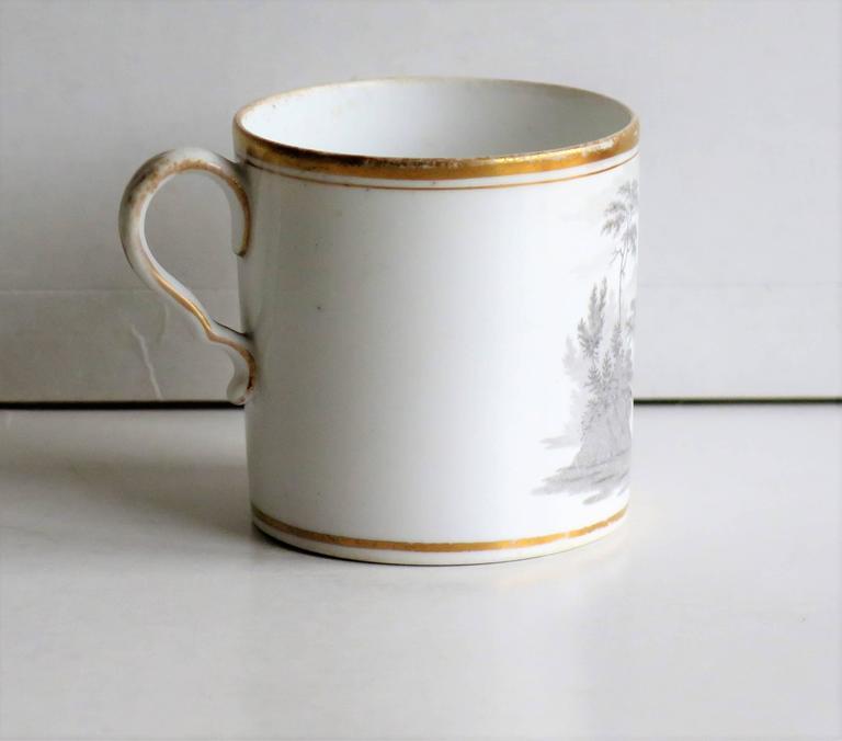 Glazed Georgian, Spode Porcelain Coffee Can, Bat Printed Landscape Ptn. 557, circa 1810 For Sale
