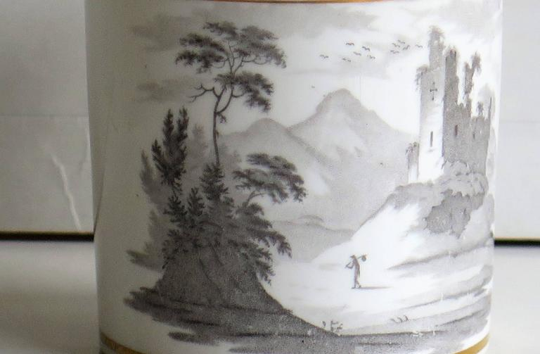 19th Century Georgian, Spode Porcelain Coffee Can, Bat Printed Landscape Ptn. 557, circa 1810 For Sale