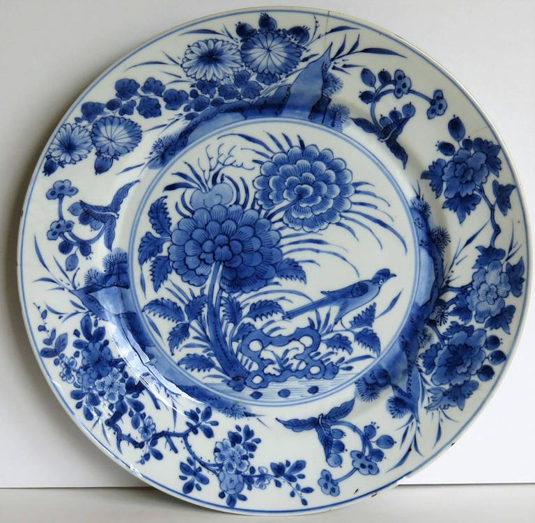 This is a beautifully hand-painted Chinese porcelain plate from the Qing Kangxi period & Chinese Porcelain Plate Blue and White KANGXI Period and Mark ...