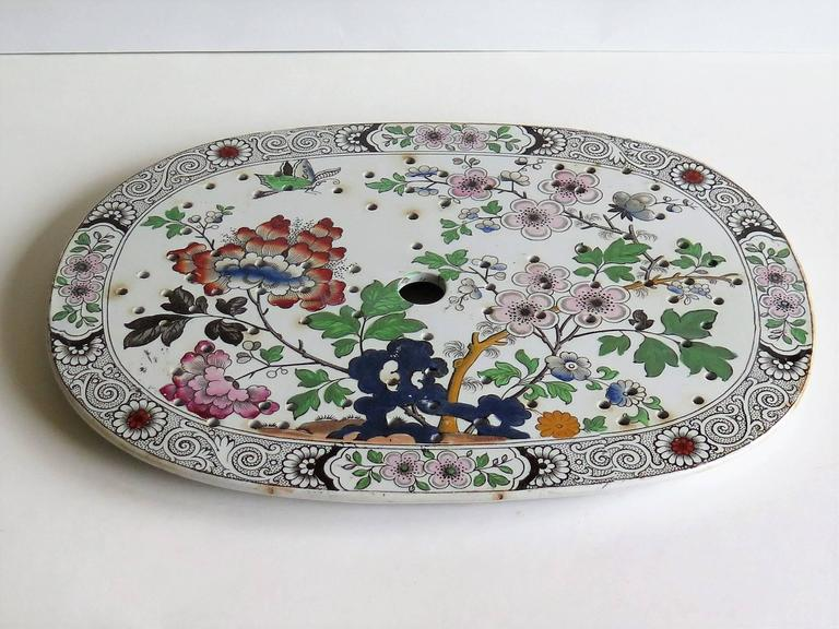 Ironstone Drainer Plate, by Hicks, Meigh and Johnson, Chinoiserie Ptn In Good Condition For Sale In Lincoln, GB
