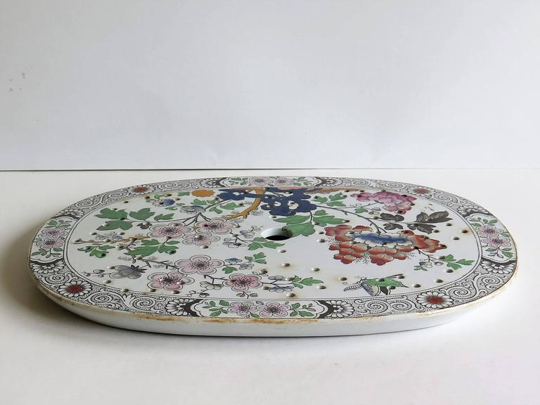 19th Century Georgian Ironstone Drainer Plate by Hicks Meigh and Johnson Chinoiserie, Ca 1830 For Sale