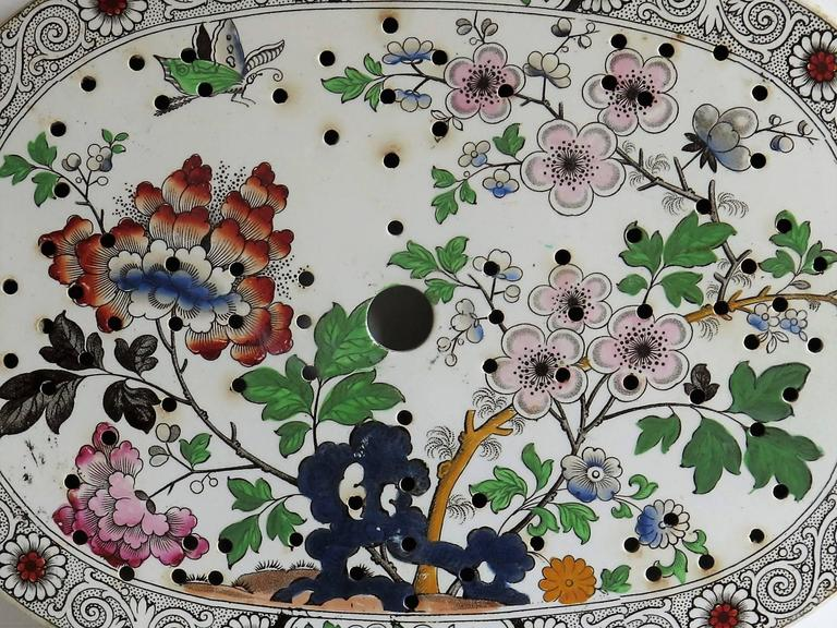 Georgian Ironstone Drainer Plate by Hicks Meigh and Johnson Chinoiserie, Ca 1830 For Sale 1