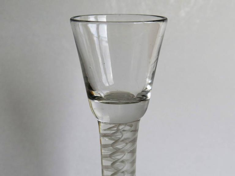 18th Century Georgian Irish Wine Drinking Glass Hand-blown thick Cotton Twist Stem, Ca 1770 For Sale