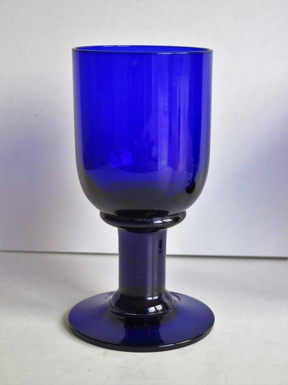Pair of wine glasses or drinking goblets bristol blue thick stems circa 1880 for sale at 1stdibs - Wine glasses with thick stems ...