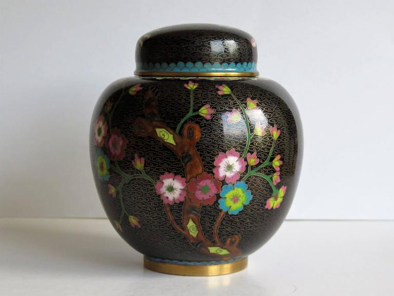 Cloissoné Chinese Cloisonné Lidded Jar Peony and Chrysanthemums, Qing circa 1880 For Sale