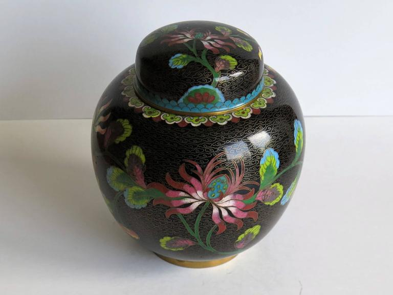 19th Century Chinese Cloisonné Lidded Jar Peony and Chrysanthemums, Qing circa 1880 For Sale