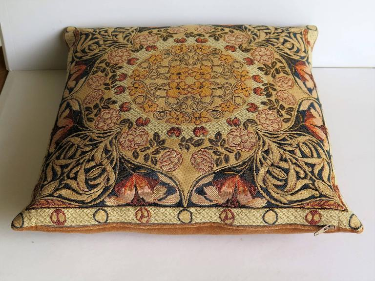 Mid Century Style Pillows : Mid-20th Century, Tapestry Pillow or Cushion, Woven Flemish Art-Nouveau Design For Sale at 1stdibs