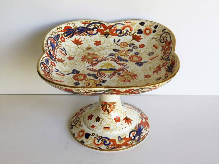 English 19th Century Wedgwood Taza or Compote Earthenware Chinoiserie Pagoda Pattern For Sale