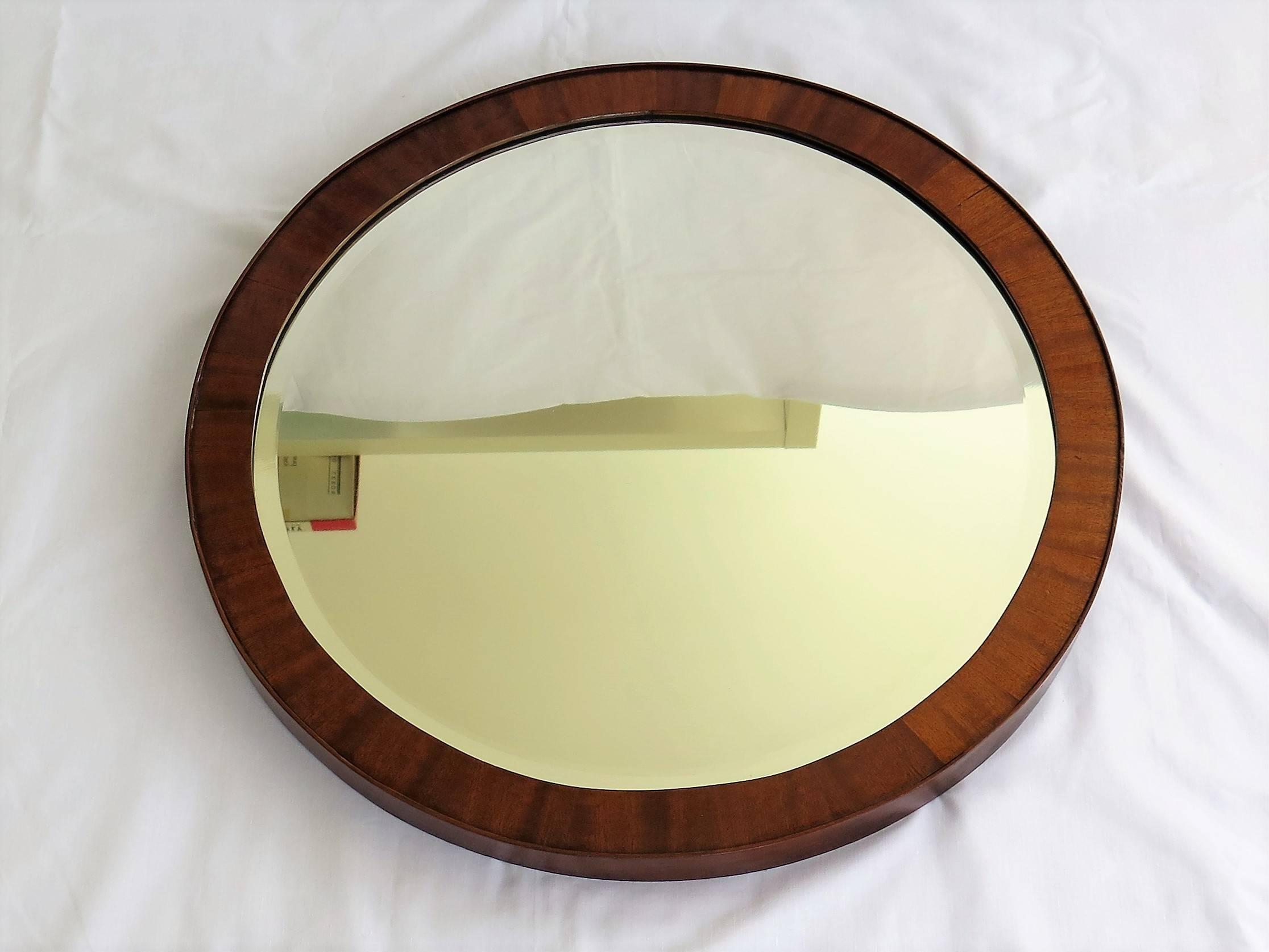 19th Century English Round Wall Mirror Cross Banded Mahogany Frame ...