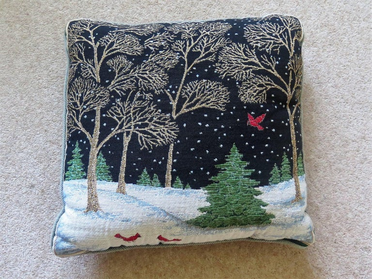 Woven Tapestry Cushion Or Pillow With Winter Woodland