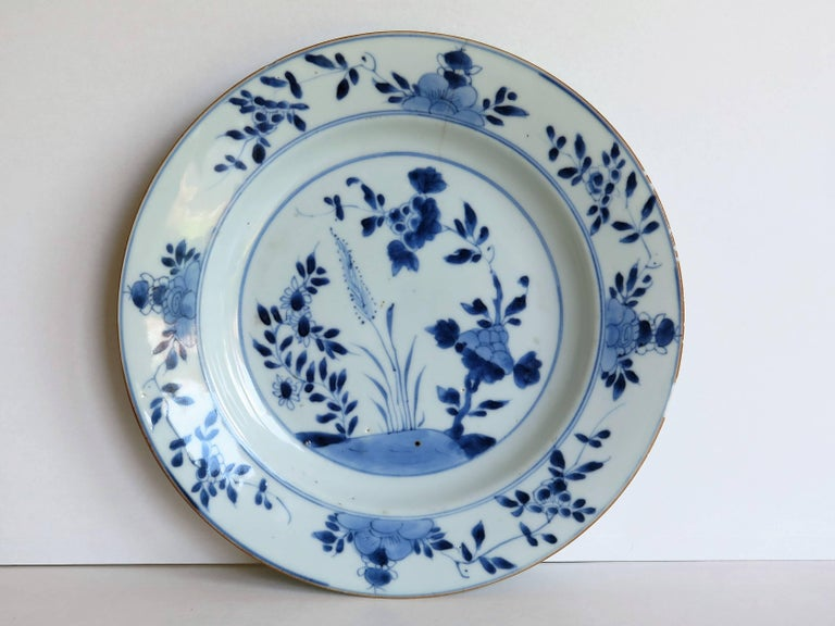 Hand-Painted 18th Century Chinese Export Porcelain Plate Blue and White, Qing Circa 1735 For Sale
