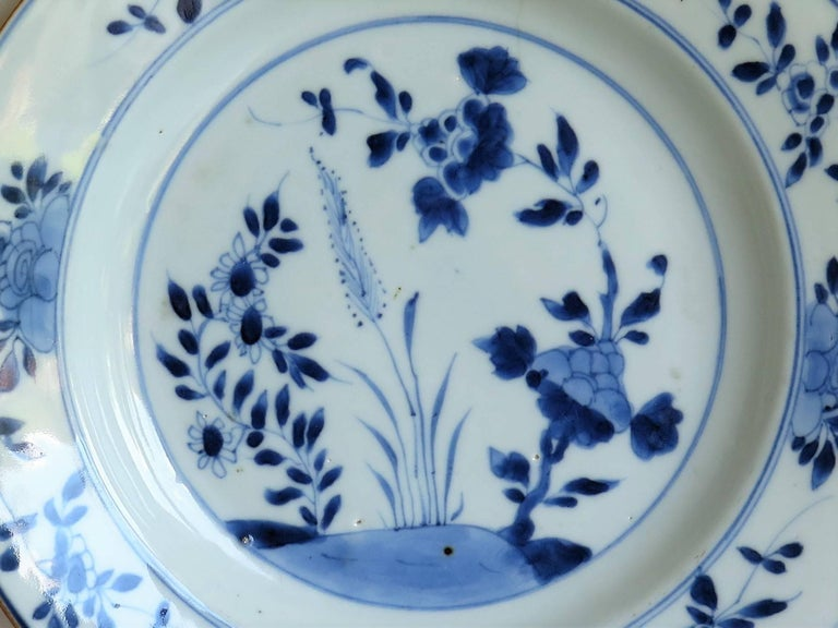 18th Century Chinese Export Porcelain Plate Blue and White, Qing Circa 1735 For Sale 2
