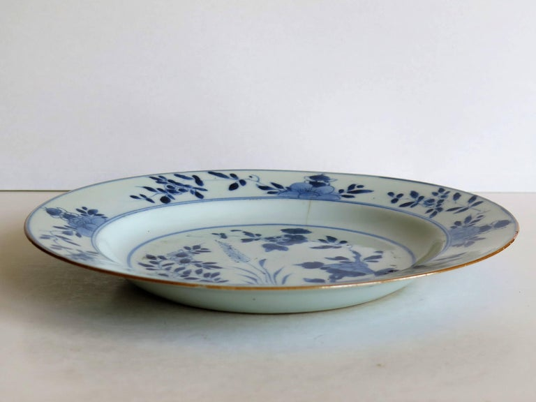 18th Century Chinese Export Porcelain Plate Blue and White, Qing Circa 1735 For Sale 1
