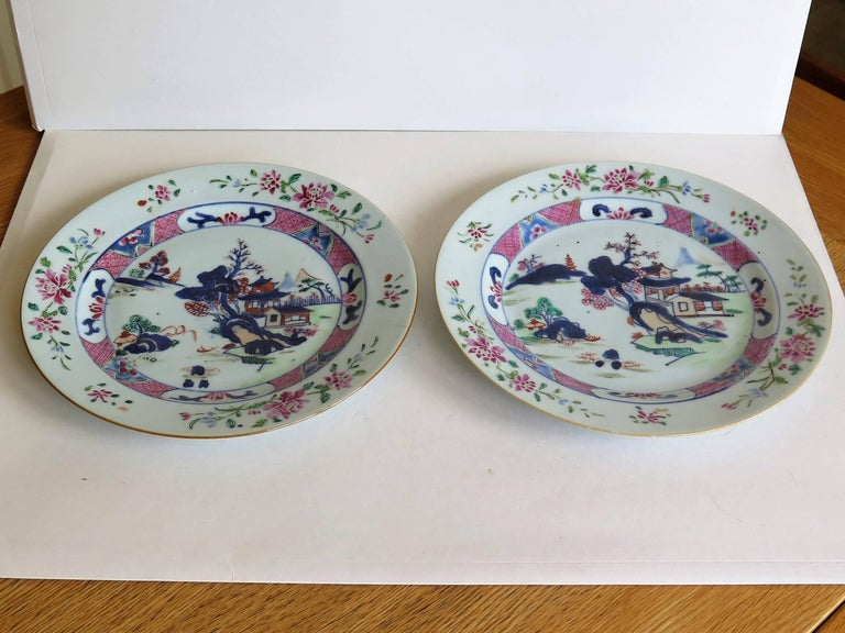 Mid 18th Century PAIR of Chinese Porcelain Plates Famille Rose, Qing Qianlong For Sale 3