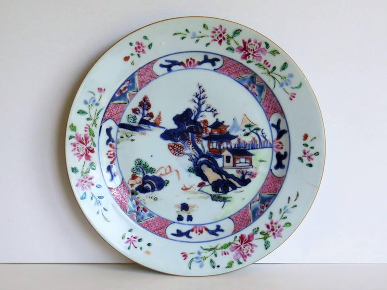 Hand-Painted Mid 18th Century PAIR of Chinese Porcelain Plates Famille Rose, Qing Qianlong For Sale