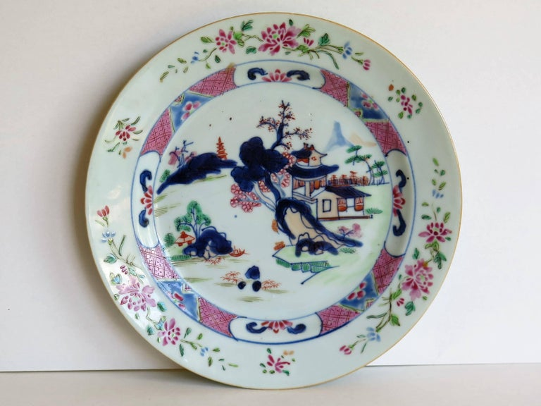Mid 18th Century PAIR of Chinese Porcelain Plates Famille Rose, Qing Qianlong In Good Condition For Sale In Lincoln, Lincolnshire
