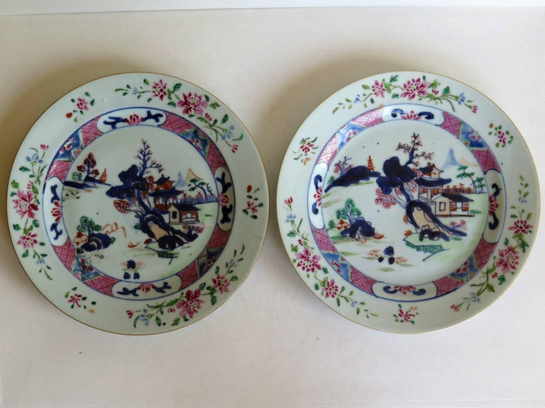 These are a very good pair of 18th century, Chinese Export porcelain plates, which we date to the Qing, Qianlong period (1736-1795), circa 1760.  The plates are nicely hand decorated with the typical enamel colours of the famille-rose palette of