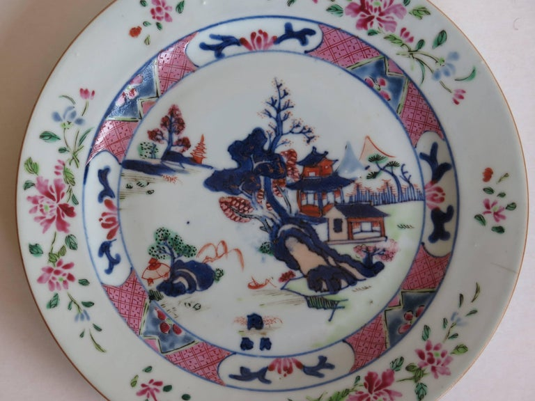 Mid 18th Century PAIR of Chinese Porcelain Plates Famille Rose, Qing Qianlong For Sale 2