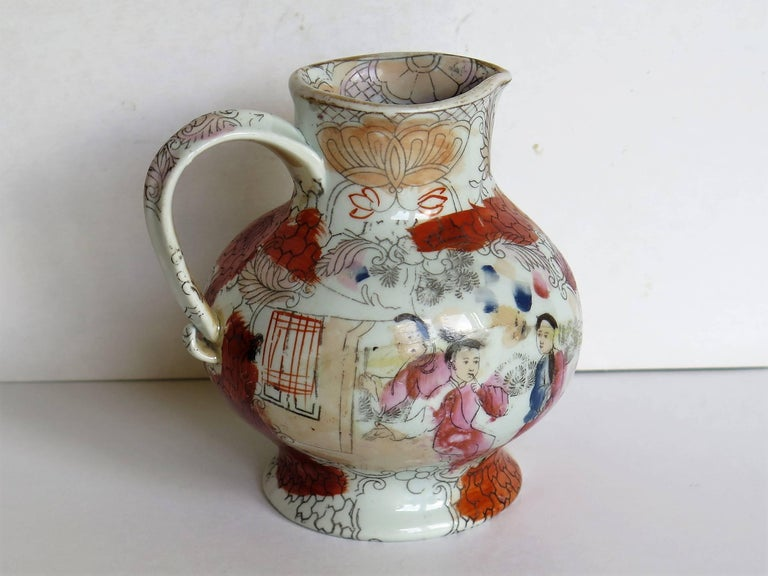 Rare shape Mason's Ironstone Jug Red Scale Conversation Pattern, circa 1820 In Good Condition For Sale In Lincoln, Lincolnshire