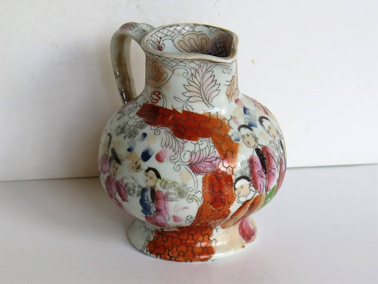 19th Century Rare shape Mason's Ironstone Jug Red Scale Conversation Pattern, circa 1820 For Sale