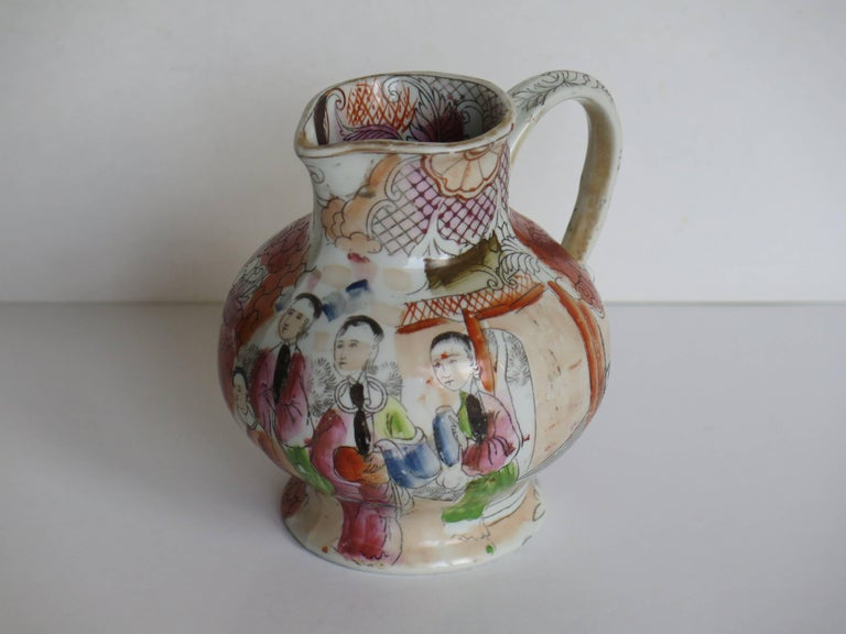 Hand-Painted Rare shape Mason's Ironstone Jug Red Scale Conversation Pattern, circa 1820 For Sale