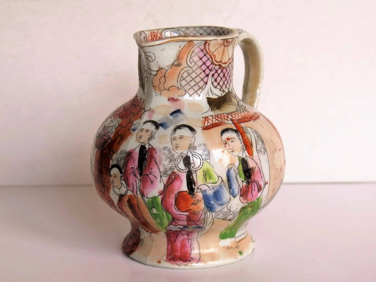 Chinoiserie Rare shape Mason's Ironstone Jug Red Scale Conversation Pattern, circa 1820 For Sale
