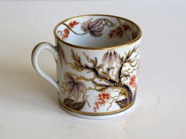 British Georgian, New Hall, Coffee Can, Porcelain, Hand-Painted Pattern, circa 1805 For Sale