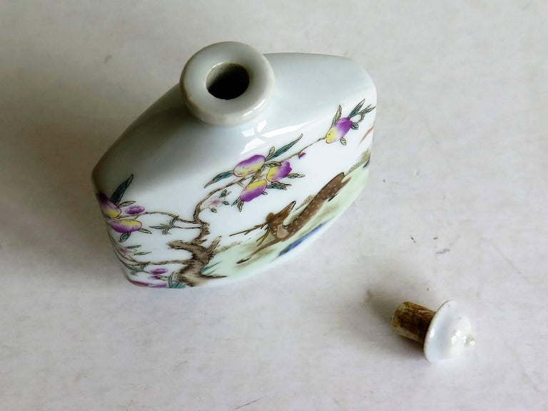 Chinese Porcelain Snuff Bottle Hand Painted Deer Famille Rose, circa 1940s For Sale 4